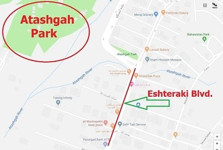 Google Maps - Atashgah Park - North Eshteraki - LELB Society