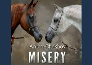 Misery by Anton Chekhov with illustrated flashcards to learn vocabulary and an embedded podcast to practice listening at LELB Society