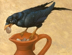 The Crow and the Pitcher from Aesop's Fables to learn English with podcast and new words at LELB Society for young learners and beginners