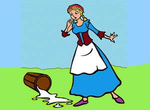 The Milk Woman and the Pail from Aesop's Fables at LELB Society with podcast and vocabulary practice to learn English